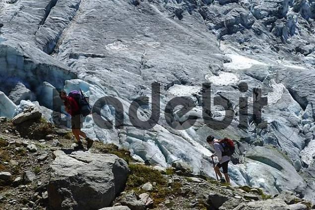 Hiking along the glacier, Glacier du Tour, Haute Savoie, France