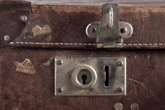 Lock of an old leather suitcase
