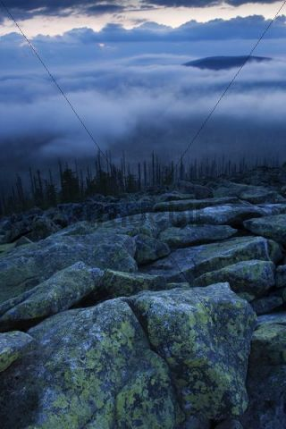 Cloudy mood on the peak of Lusen Mountain, Bavarian Forest National Park, Bavaria, Germany, Europe