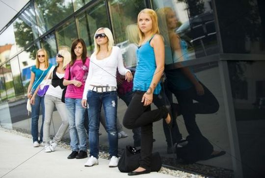 Group of adolescent girls between 13 and 17 years old