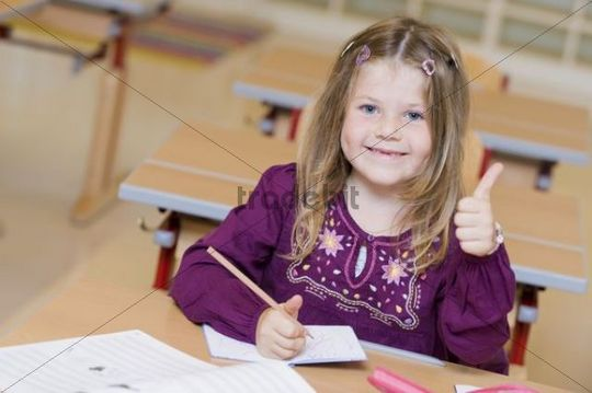 Firstgrader during a lesson