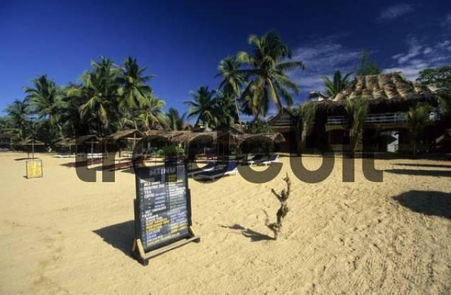 restaurant on the sandy beach of Hikkaduwa