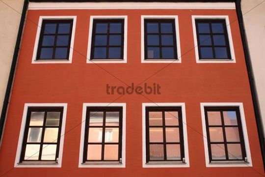 Facade and windows, view with colorful reflection
