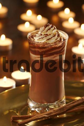 hot chocolate with cream and cinnamon flavouring