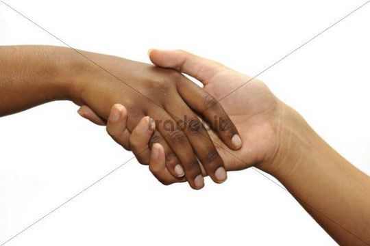 Symbolic picture for contact, help, developement aid, black and white hand