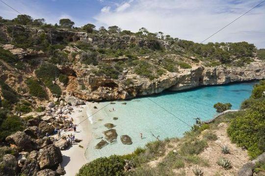 Beach in the bay Caló d´Es Moro near Cala s´Almonia, Mallorca, Majorca, Balearic Islands, Mediterranean Sea, Spain, Europe