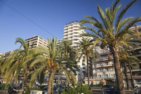 Hotels at the marina of Palma de Mallorca, Mallorca, Majorca, Balearic Islands, Mediterranean Sea, Spain, Europe