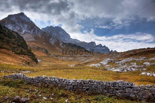 Ruins of a wall, Buchs, Eastern Swiss Alps, Austria, Europe