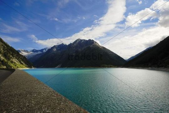 Dam, Schlegeisstausee reservoir, Zillertal, Austria, Europe