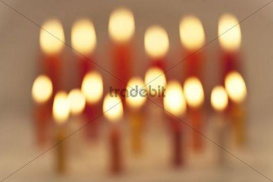 Burning coloured candles