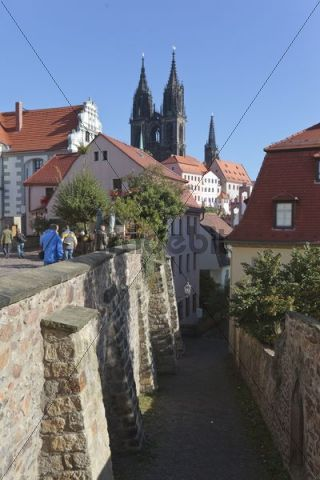 View of the towers of the Dom cathedral in the Albrechtsburg castle in Meissen, Saxony, Germany, Europe