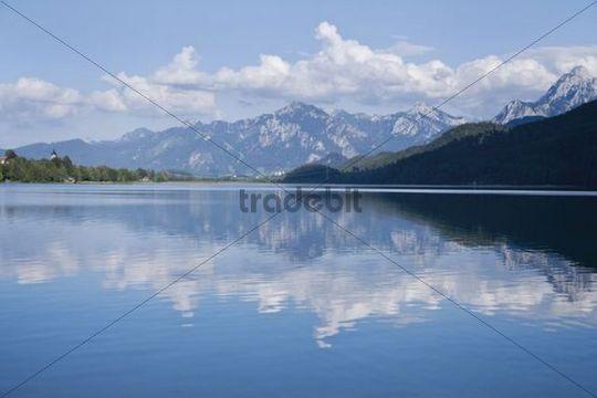 Weissensee Lake near Fuessen, Upper Allgaeu, Upper Bavaria, Bavaria, Germany, Europe