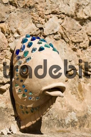 sculpture of a fish, the village of Deia, Majorca, Balearic Islands, Spain