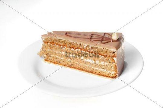 Piece of walnut cake on a plate