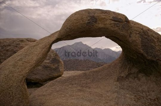Mobius Arch and in the back Mount Whitney at sunset, Alabama Hills, Lone Pine, California, USA