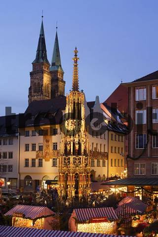 Nuremberg - Christmas - market - The Beautiful Fountain - St. Sebald church - Franconia Bavaria Germany