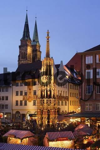 Nuremberg - Christmas - market - The Beautiful Fountain - St. Sebald church - Franconia Bavaria Germany