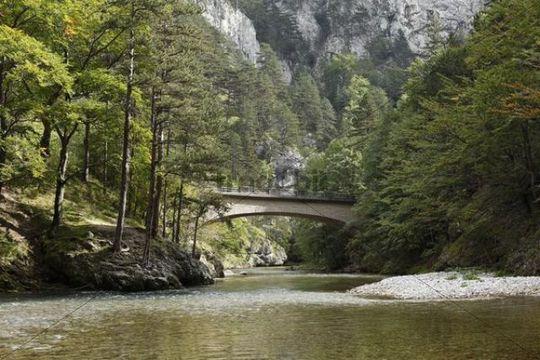 Bridge over the Schwarza River in Hoellental, Hell´s Valley in Reichenau an der Rax, Lower Austria, Austria, Europe