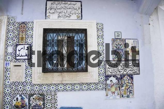 House wall or window of a Tunisian home in Hammamet, Tunisia