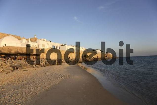 evening look at the town wall of Medina in Hammamet, Tunisia