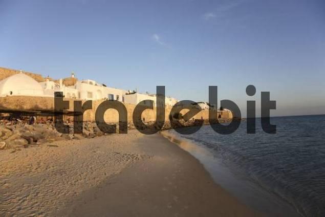 evening look at the town wall of Medina in Hammamet, Tunisia