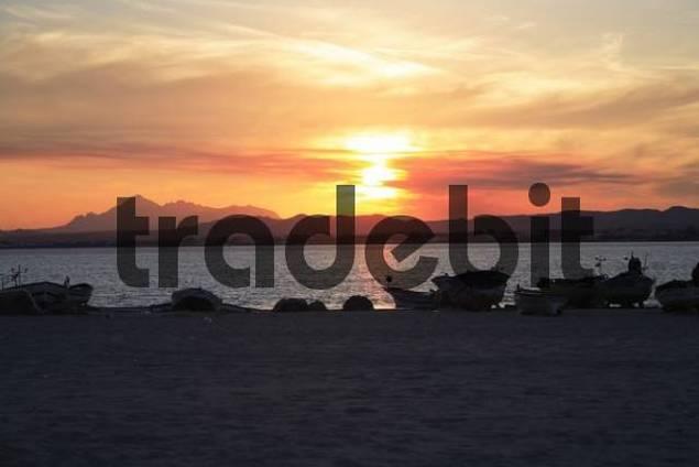 Sundown on the beach of Hammamet, Tunisia
