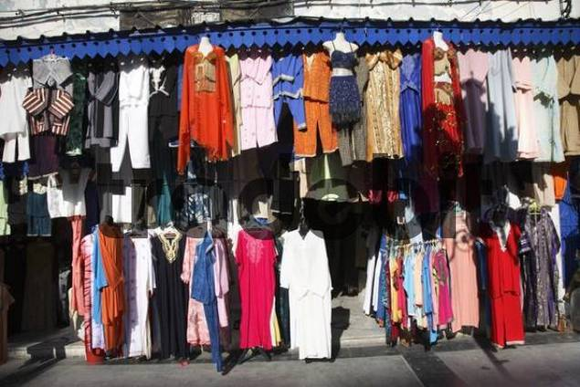 Clothes bazaar in Tunis, Tunisia