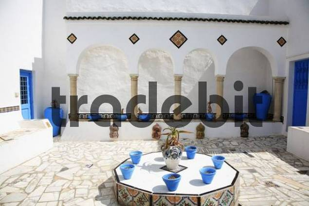 Inner courtyard of a house in Sidi Bou Said, Tunisia