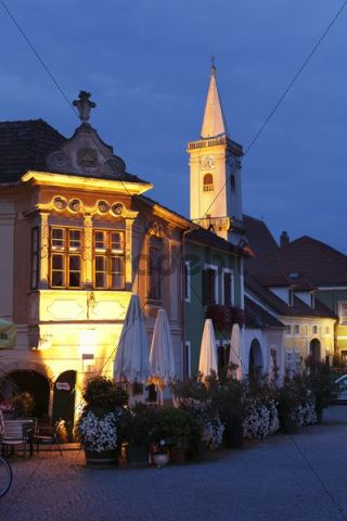 Old house with window bay on the town hall square, Catholic church, Rust on Lake Neusiedl, Burgenland, Austria, Europe