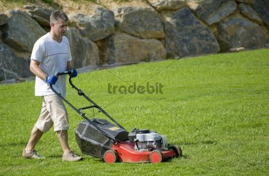 Man Mowing The Lawn Download People
