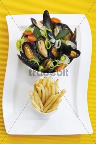 Mussels, rheinische art, with onions in a spicy sauce, in a porcelain dish with chips