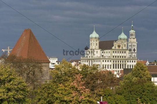 City hall and Perlachturm tower, Augsburg, Swabia, Bavaria, Germany, Europe