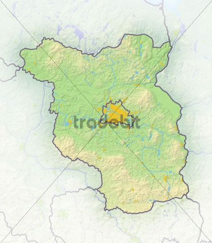 Brandenburg, Germany, shaded relief map