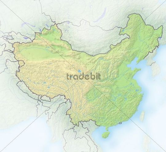 China, shaded relief map