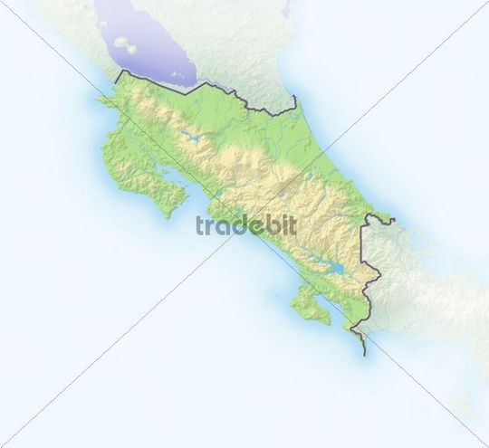 Costa Rica, shaded relief map