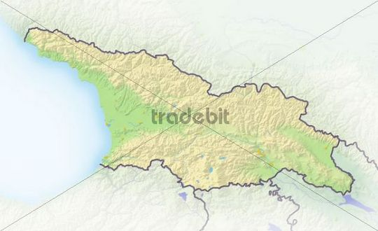 Republic of Georgia, shaded relief map