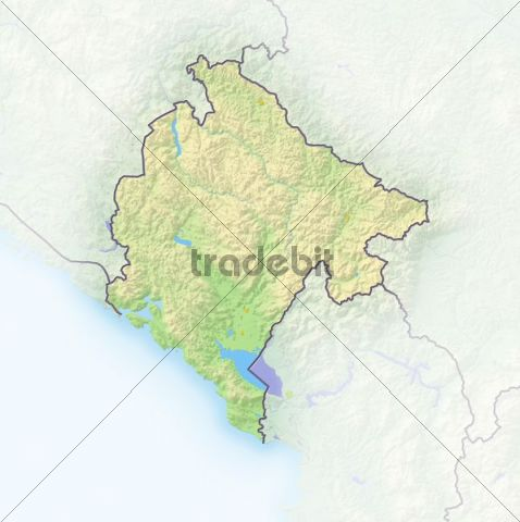 Montenegro, shaded relief map