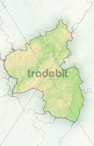 Rhineland-Palatinate, Germany, shaded relief map