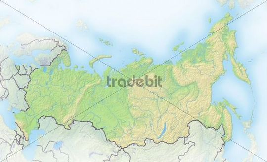 Russia, shaded relief map