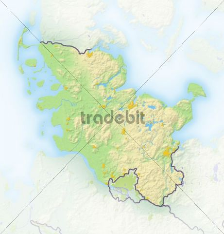 Schleswig-Holstein, Germany, shaded relief map