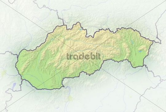 Slovakia, shaded relief map