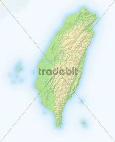 Taiwan, shaded relief map