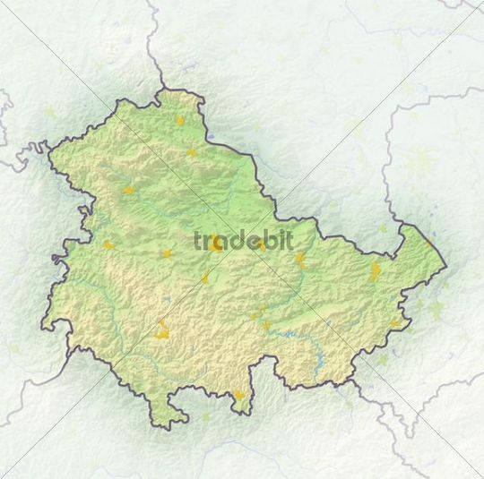 Thuringia, Germany, shaded relief map