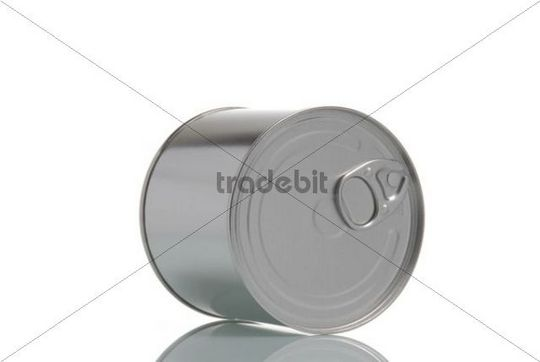 Tin can with a quick opening latch lying on its side
