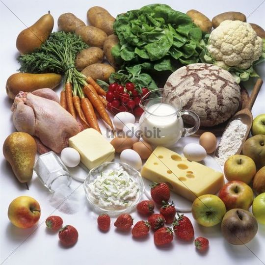 A healthy diet with dairy products, bread, fruit, vegetables and poultry