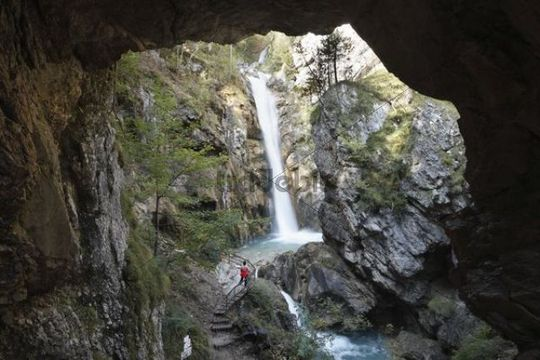 Tschauko Waterfall, Tscheppaschlucht Gorge, Loibltal Valley, Karawanken, Carinthia, Austria, Europe