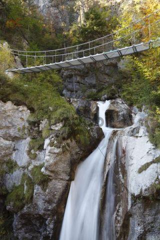 Chain bridge crossing the Tschauko Waterfall, Tscheppaschlucht Gorge, Loibltal Valley, Karawanken, Carinthia, Austria, Europe