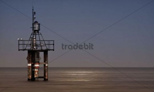 Lighthouse in Lake Constance during lit by the full moon, near the Horn lido in Konstanz, Baden-Wuerttemberg, Germany, Europe