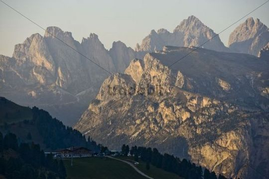 View of the Val Gardena, from the Sella-Joch towards Seceda, Dolomites, South Tyrol, Italy, Europe