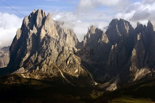 View over the Seiser Alm on Mt. Sassolungo, Dolomites, South Tyrol, Italy, Europe